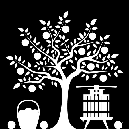 vector apple tree, basket of apples and fruit press isolated on black background Vector
