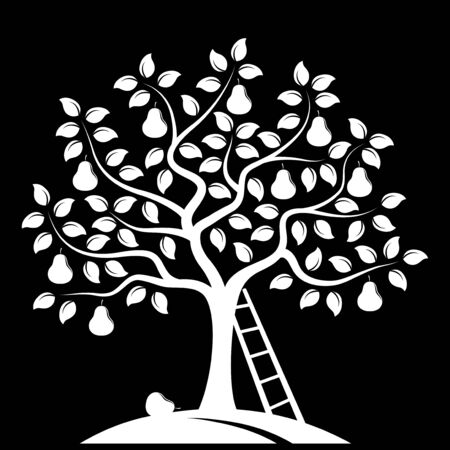 pear tree: vector pear tree and ladder isolated on black background