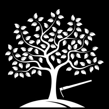 orchards: vector tree and hoe isolated on black background Illustration