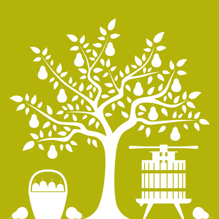 pear tree: vector pear tree, basket of pears and fruit press isolated on green background