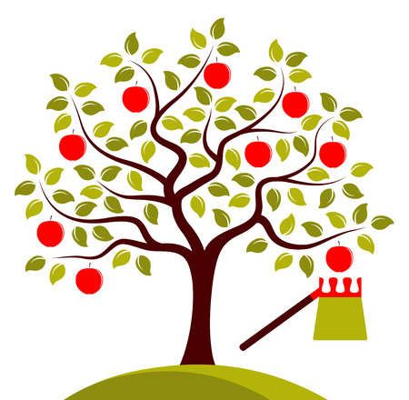 gather: vector apple tree and fruit picker isolated on white background