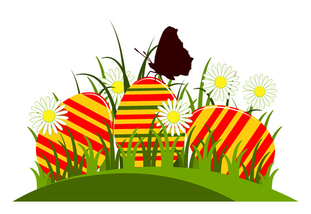 grass isolated: vector easter eggs in grass isolated on white background