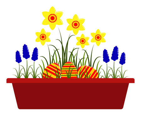 planter: vector spring flowers and easter eggs in planter isolated on white background Illustration