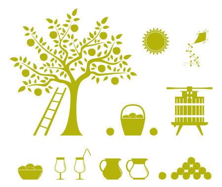 arbol de manzanas: colecci�n de iconos de vector de cosecha de manzana aislada sobre fondo blanco