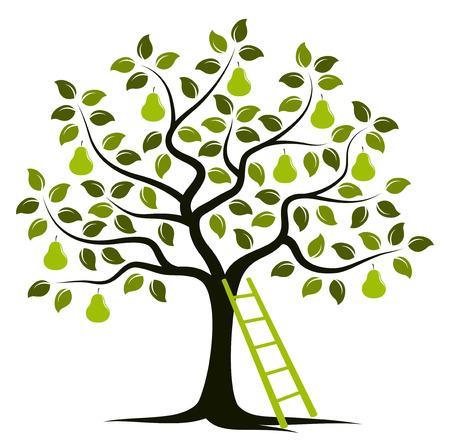 vector perenboom en ladder op een witte achtergrond