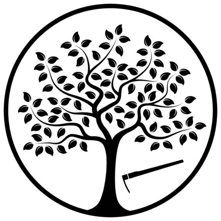 hoe: vector tree and hoe in round isolated on white background