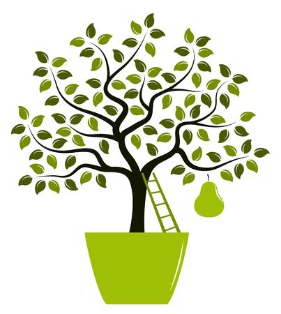 vector perenboom met een grote peer in pot geïsoleerd op witte achtergrond