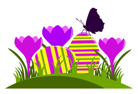 clump: vector clump of crocuses and easter eggs isolated on white background Illustration