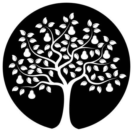 vector perenboom geïsoleerd op zwarte ronde