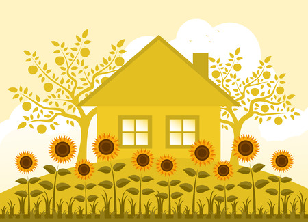 vector bed of sunflowers, cottage and apple trees Vector