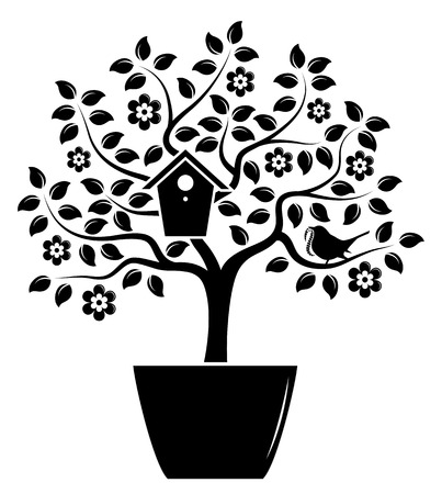 nesting: vector flowering tree with nesting bird box and bird bringing worm in pot isolated on white background Illustration