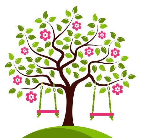 orchards: vector flowering tree with swings isolated on white background Illustration