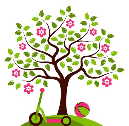 ball park: vector flowering tree with ball and scooter isolated on white background Illustration