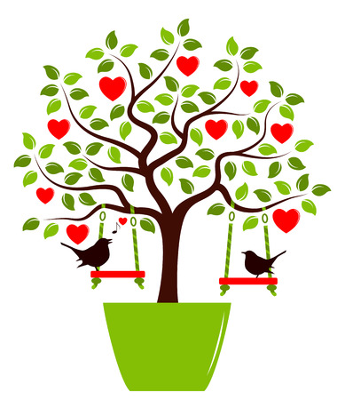 planter: vector heart tree with swings in pot and couple of birds isolated on white background