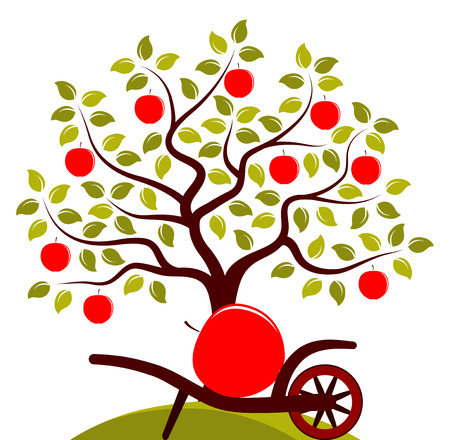 big apple: vector apple tree and hand barrow with one big apple isolated on white background