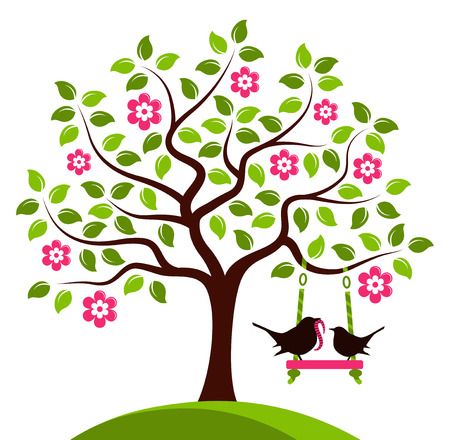 vector flowering tree with swing and mother bird bringing worm isolated on white background Vector