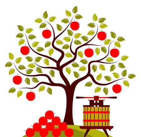 사과의 더미와 함께 벡터 사과 나무와 과일 프레스