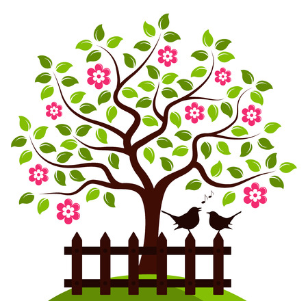 picket: vector flowering tree and picket fence with couple of birds isolated on white background