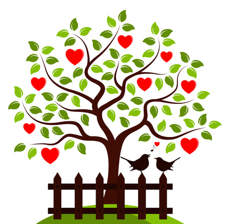 vector heart tree and picket fence with couple of birds isolated on white background Stock Illustratie