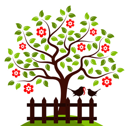picket: vector flowering tree and picket fence with mother bird and baby bird isolated on white background