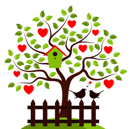 picket: vector heart tree with nesting bird box and picket fence with couple of birds isolated on white background Illustration