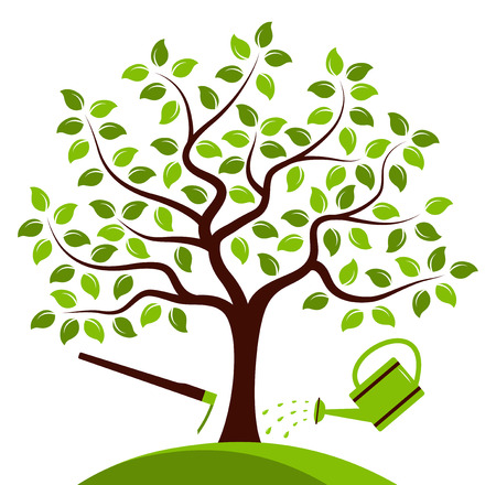 hoe: vector tree with hoe and watering can isolated on white background