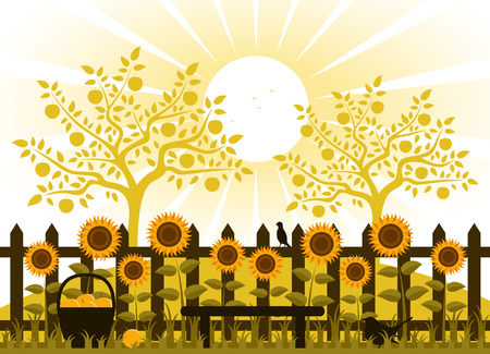 vector apple trees and picket fence with sunflowers Vector