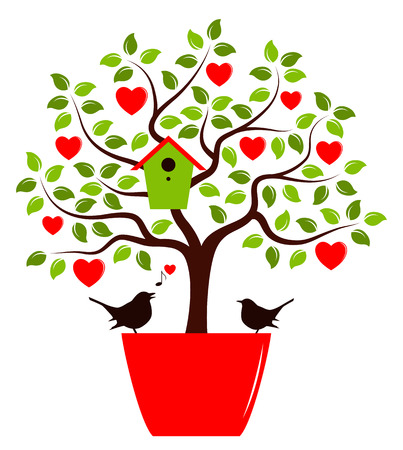 nesting: heart tree with nesting bird box in pot and couple of birds isolated on white background
