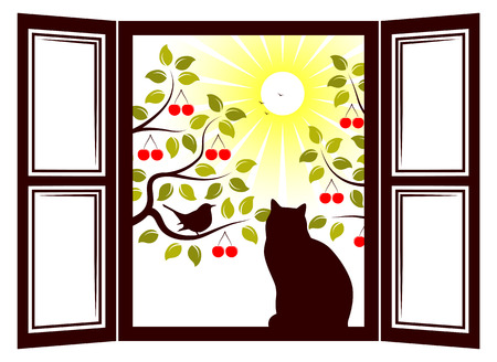 drupe: cat in the window and cherry trees outside the window