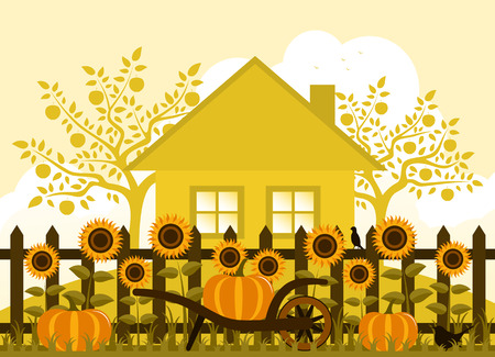 picket green: vector pumpkins and sunflowers along picket fence Illustration