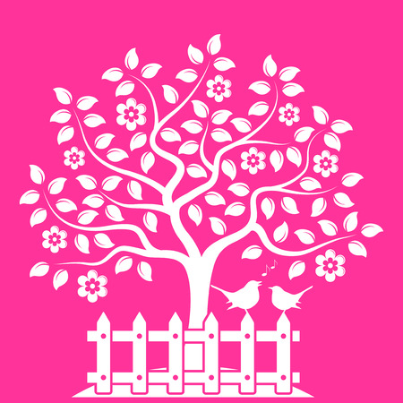 picket: vector flowering tree and picket fence with couple of birds isolated on pink background