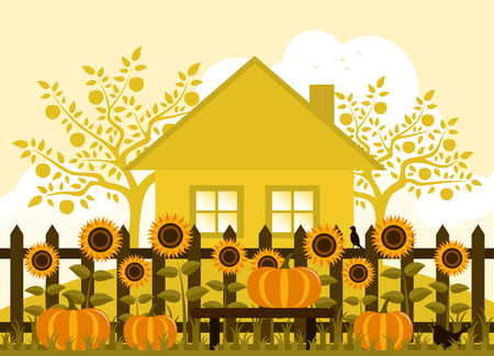 vector pumpkins and sunflowers along picket fence Vector