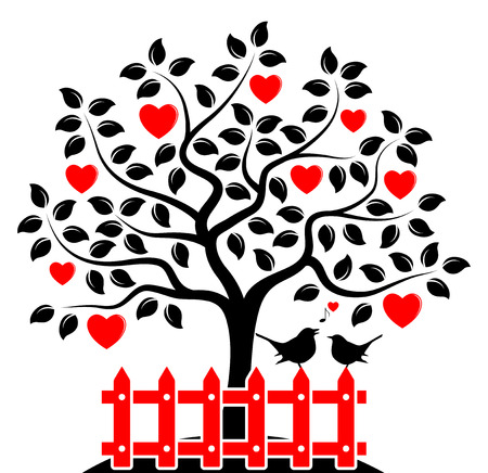 white picket fence: vector heart tree and picket fence with couple of birds isolated on white background Illustration