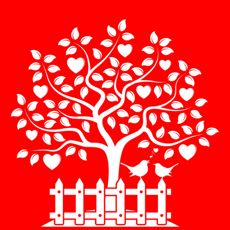picket: vector heart tree and picket fence with couple of birds isolated on red background