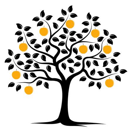 Vektor-Apfelbaum isoliert auf weißem Hintergrund Standard-Bild - 41296151