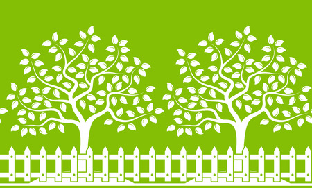 picket: vector seamless border with trees behind picket fence isolated on green background Illustration