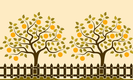 picket: vector seamless border with apple trees behind picket fence