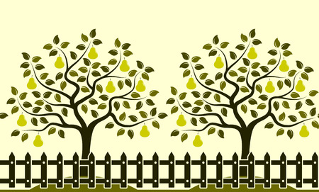 picket: vector seamless border with pear trees behind picket fence