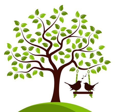 orchards: vector tree with swing and couple of birds isolated on white background