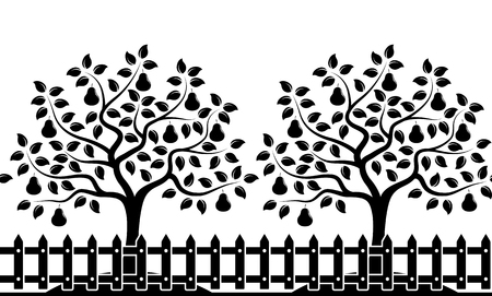 vector seamless border with pear trees behind picket fence isolated on white background