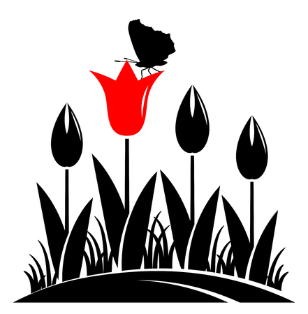 clump: vector clump of tulips and butterfly isolated on white background