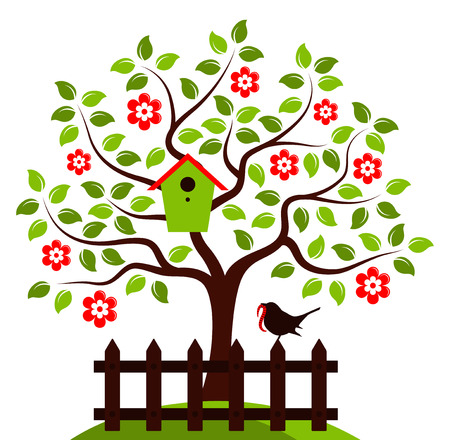 bird box: vector flowering tree with nesting bird box and picket fence with bird isolated on white background