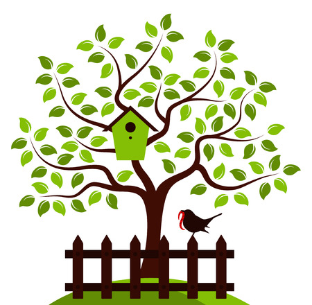 picket: vector tree with nesting bird box and picket fence with bird isolated on white background Illustration