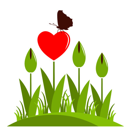 clump: clump of heart flowers and butterfly isolated on white background Illustration