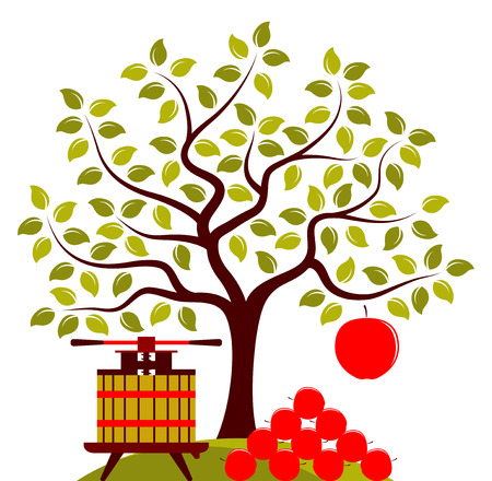 big apple: vector apple tree with one big apple and fruit press with pile of apples