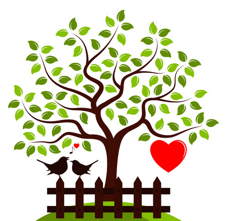 picket: vector tree with one big heart and picket fence with couple of birds isolated on white background