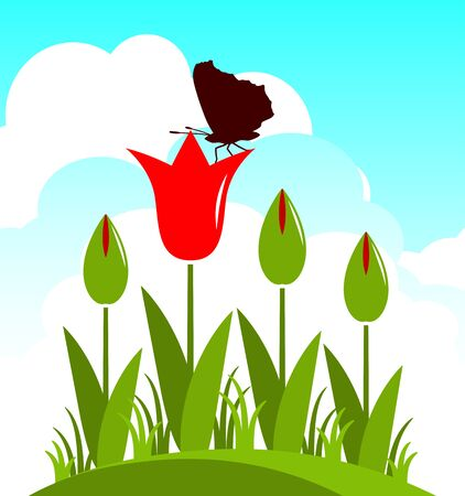 clump: vector clump of red tulips and butterfly