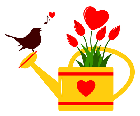 tuft: vector heart flowers in watering can and bird isolated on white background