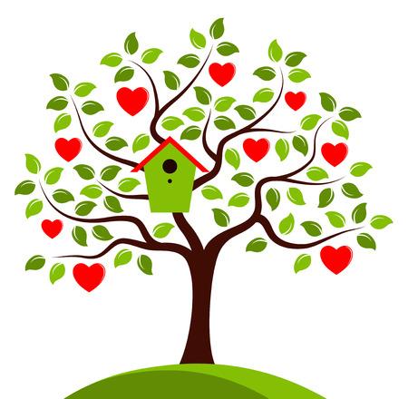 bird box: heart tree with nesting bird box isolated on white background