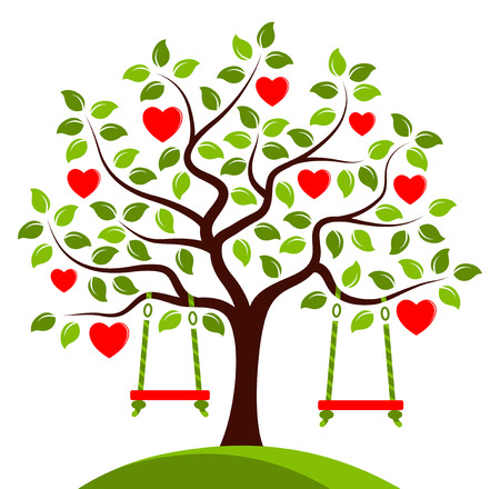 vector heart tree with swings isolated on white background Stock Illustratie